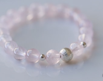 Icy Pink Madagascar Rose Quartz with Karen Hills 925 Silver Bead stretch bracelet - for Her, byJTSjewelry