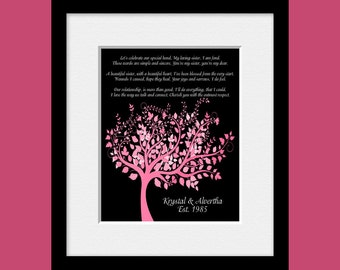 """Tree with Poem for Sisters, """"Beautiful Sister"""" Poem, Sisters Wall Print, Birthday Gift for Sisters, Christmas Gift for Sisters"""