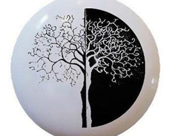Modern Black and White Tree Ceramic Knobs Pull Kitchen Drawer Cabinet Vanity