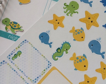 Planner Stickers Sea Creatures Set Life Planner Stickers Fits Erin Condren Planner