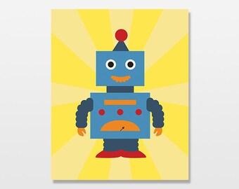 Blue Robot Art Print, Nursery Art, Children's Artwork, Nursery Decor, Boys Room Retro