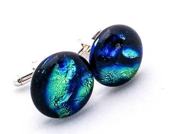Dark Marbled Green & Blue Dichroic Glass Cuff Links