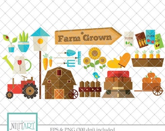 Farm clip art, Garden clipart, vector graphics, barn clip art, digital clip art, digital images