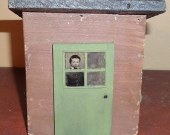 Vintage Little Handmade Rustic House with an Original Tintype of Boy 'Looking' Through the Window