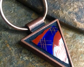 Climb - Mosaic Split Ring Keychain, Broken Vintage China set into a Copper Triangle Bezel - SHIPS FREE to Continental United States
