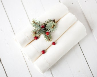 Ivory hemstitch napkin cloths - Thanksgiving napkins set of 6 - Dinner linen napkins -  Rustic wedding table decor