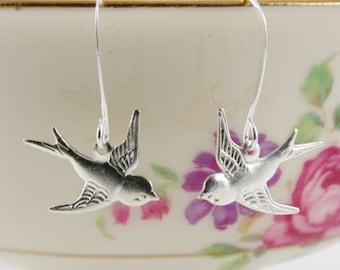 20%OFF SALE Tiny Silver Bird Earrings, Silver Swallow Earrings, Dangle Bird Earrings, Wedding Jewellry, Feather Earrings