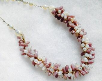 Vintage! Unusual vintage glass bead cluster necklace mauve & moonstone - like, statement!