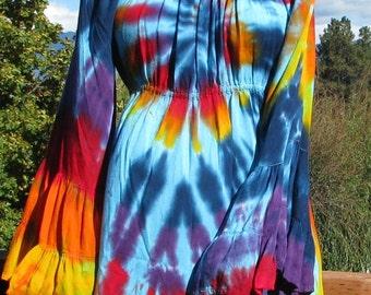 Peasant Top Tie Dye in Turquoise Rainbow