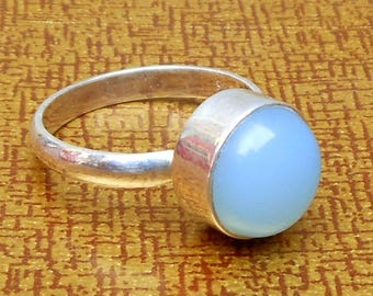 Aqua chalcedony sterling silver ring stacking ring aqua ring round stacking ring gift for her