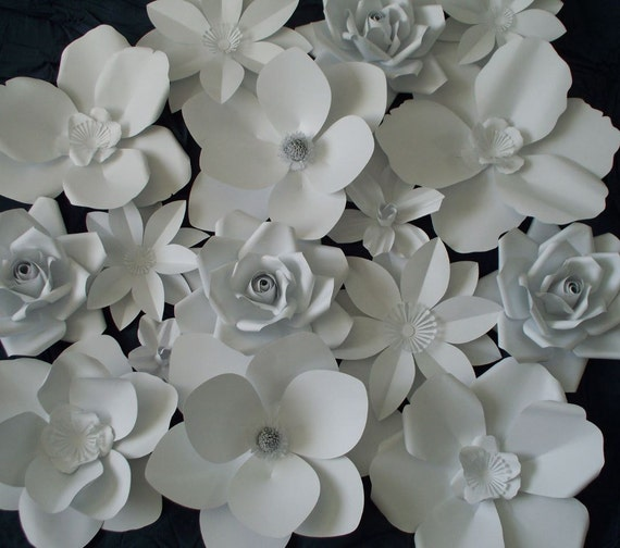 Items Similar To Large Paper Flowers Wedding Backdrop White Paper