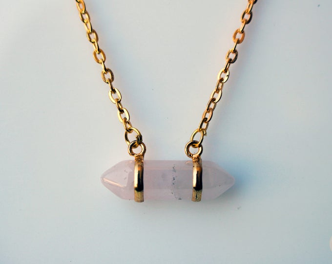 Gold Rose Quartz Crystal bar Necklace.