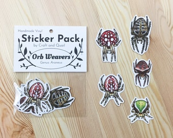 Orb Weaver Spider Vinyl Sticker 5-Pack