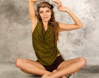 Top for Women with Hood~T-Shirt~Hoodie~Festival Top~Party~Goa Psy Trance~Alternative~Unique~Earthy~natural~Tribal Clothing~Hippie~Yamuna Art
