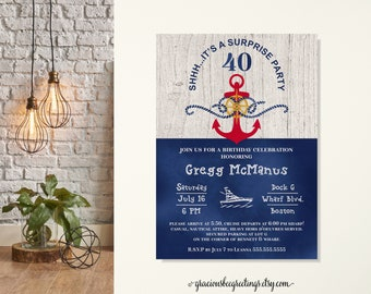 Nautical Surprise Birthday Party Invitation, Birthday Invitation, Men's Adult Birthday, Sailboat, Captain Birthday, 50th, 65th, 70th, 80th