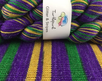On Bourbon Street - With Gold Heel & Toe - Hand-Dyed Self-Striping Glitter Sock Yarn