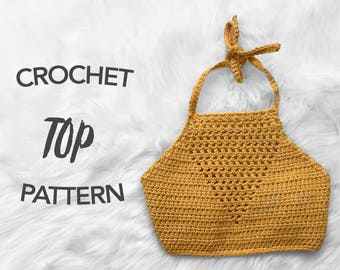 crochet crop top pattern, crochet pattern, crochet halter top pattern, picture tutorial, digital pattern, instant PDF download, WILLIAM