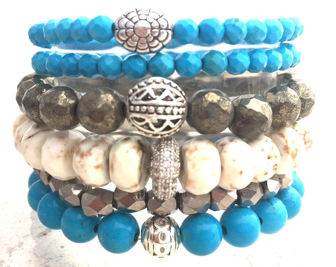 Turquoise Gemstone Stack Bracelet-Pyrite Beaded Bracelet-White Turquoise Bracelet-Mother Day Gift-Graduation Gift-Protective Stone Bracelets