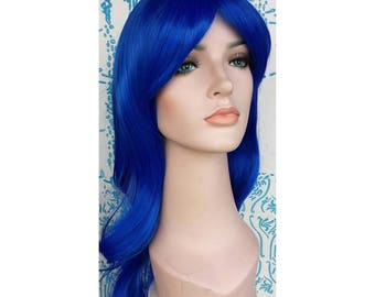 Blue wavy long wig. synthetic wig. ready to ship.