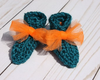 Teal Baby Booties - Crochet Preemie Booties - Preemie Gender Neutral - Booties with Ties