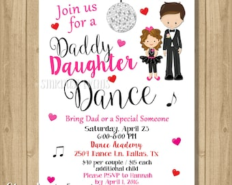 Daddy daughter dance invitation etsy father daughter dance invitation dance party invitation dance birthday invitation daddy daughter dance stopboris