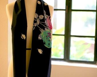 Enzaly Midnight Bloom Silk Scarf