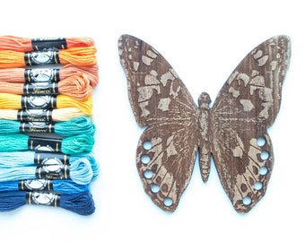 Embroidery Floss Organizer - Wooden Thread Holder - Butterfly
