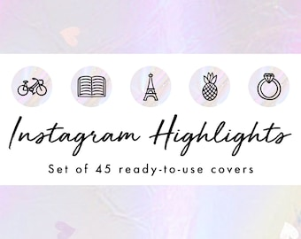Instagram Story Highlight Icons - 45 Pastel Holographic Covers | Fashion, Beauty, Lifestyle, Decor, Craft, Handmade, Bloggers, Influencers