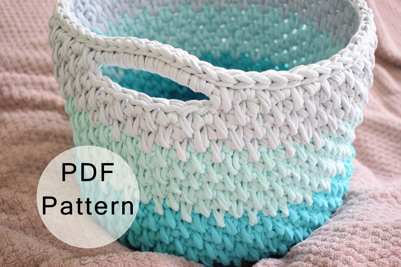 CROCHET PATTERN - Crochet Basket Pattern, Large Basket with Handles ...