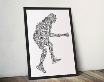 ACDC  / Angus Young / doodle portrait of the AC DC guitar Hero - Open Edition Print - A4 -A3 - White and black