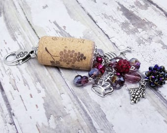 Purple beaded wine cork keychain with charms, gift for wine lover, pretty purse charm for her, birthday gift for best friend funny gift idea