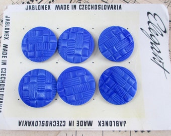 6 Vintage Czech Glass Buttons Blue Woven Art Deco Texture Pattern Button Lot on Card 1950s 60s Molded Pressed Geometric Big Large Giant Old