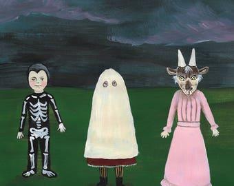 Samhain trio Halloween greetings card, art card