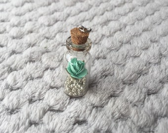 1 X Miniature Rose Glass Bottle Pendant