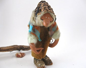 Whimsical Woodland Character Doll, Cave Dweller Troll, Vintage Fantasy Art Doll / Ancient Creature Character Doll / Home Decor Gift