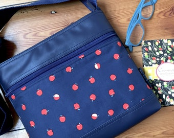 Double Zipper lay down Sue bag in navy little apple fabric