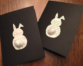 Book Page Easter Bunny Card