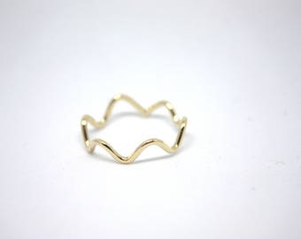Zig zag solid gold ring . Geometric ring . Chevron ring . 9K gold jewellery . Women Stacking ring . Valentines day gift . SAMENA Jewelry .