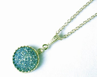 Teal Blue Druzy Pendant Titanium Druzy Pendant Gold Crown Gemstone Necklace Blue Fine Druzy Necklace Blue Drusy Jewelry FD-P-103-BD/g
