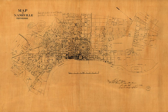 Map of Nashville TN 1860 Large Vintage Nashville map in 4