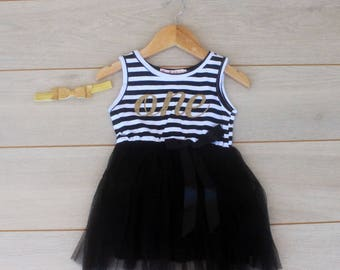Black, White and Gold First Birthday Dress ad Headband - Cake Smash Outfit
