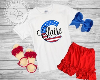 Flag Initial Personalized shirt for girls // 4th of July girls Shirt // Patriotic Kids Shirt // Red White and Blue shirts // USA shirt