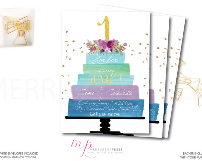 Cake First Birthday Invitation // Birthday Invite // Cake // Flowers // Watercolor // Purple // Gold Glitter // HAMPTONS COLLECTION