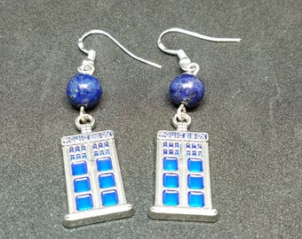 Tardis earrings - Whovian - Police Box - 925 Silver Hooks - Lapis Lazuli - Doctor Who - Dr Who Gift - Dr Who Jewelry