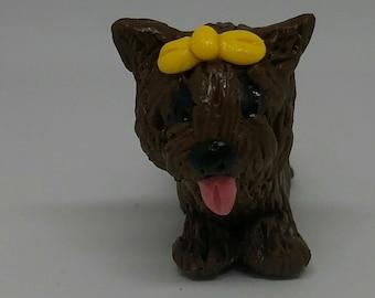 Super cute little Yorkie Dog Polymer Clay Figurine