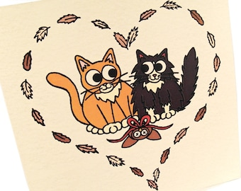 Cats in Love Card - blank inside - cute cat card with ginger tom and black and white cat in heart of feathers. Cat lovers card, anniversary