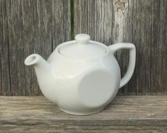 Vintage White Teapot Farmhouse Kitchen Decor, Cottage, Lubiana China made in Poland Tea for One Personal Size Teapot