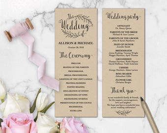 Kraft Wedding Program Editable Template, DIY Wedding Program, Rustic Wedding Program Printable, Ceremony Printable, Instant Download WD211