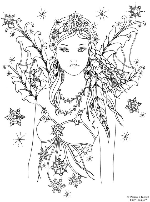 Printable fairies coloring pages ~ Snowbird Fairy Tangles Printable 4x6 inch Digi Stamp Fairies