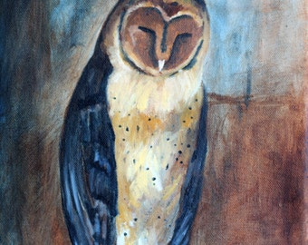 Madonna owl with eyes closed original oil painting giclee print / Madonna Owl